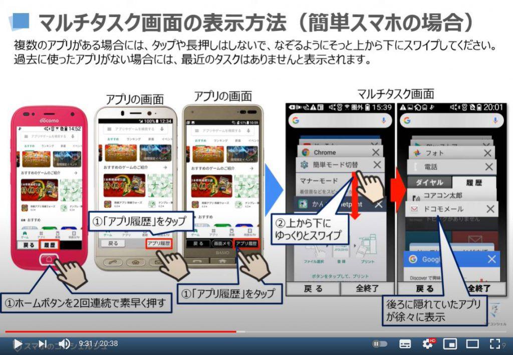 マルチタスク画面の表示方法 アプリの切替方法 アプリスイッチャーについて解説:マルチタスク画面の表示方法(らくらくフォン等の簡単スマホの場合)