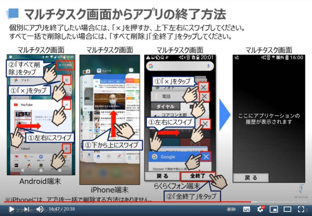 マルチタスク画面の表示方法 アプリの切替方法 アプリスイッチャーについて解説:マルチタスク画面でのアプリの終了方法