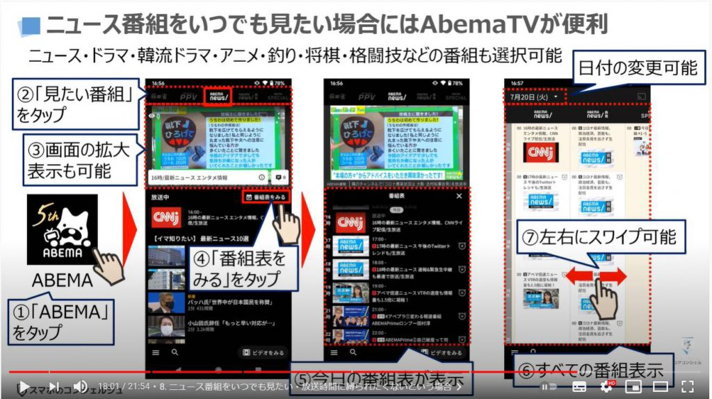 絶対に試してみたいスマホの使い方10選:ニュース番組をいつでも好きな時に見たい(abemaTVの使い方)