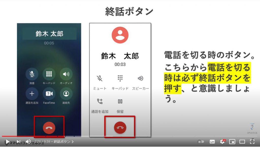 通話中の誤操作及び通話中の操作方法:終話ボタン