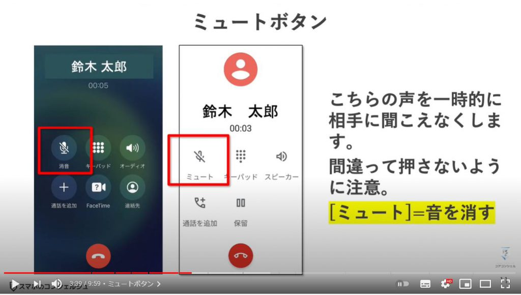 通話中の誤操作及び通話中の操作方法:ミュートボタン