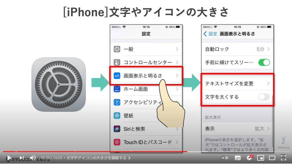 スマホを快適にする設定(画面のカスタマイズ方法):文字やアイコンの大きさを調整する(iPhone)