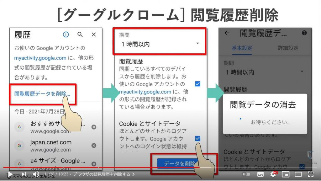 写真・メール・アプリ・検索/閲覧履歴のチェックと削除:Chromeの閲覧履歴を削除する