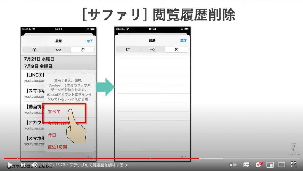 写真・メール・アプリ・検索/閲覧履歴のチェックと削除:サファリの閲覧履歴を削除する