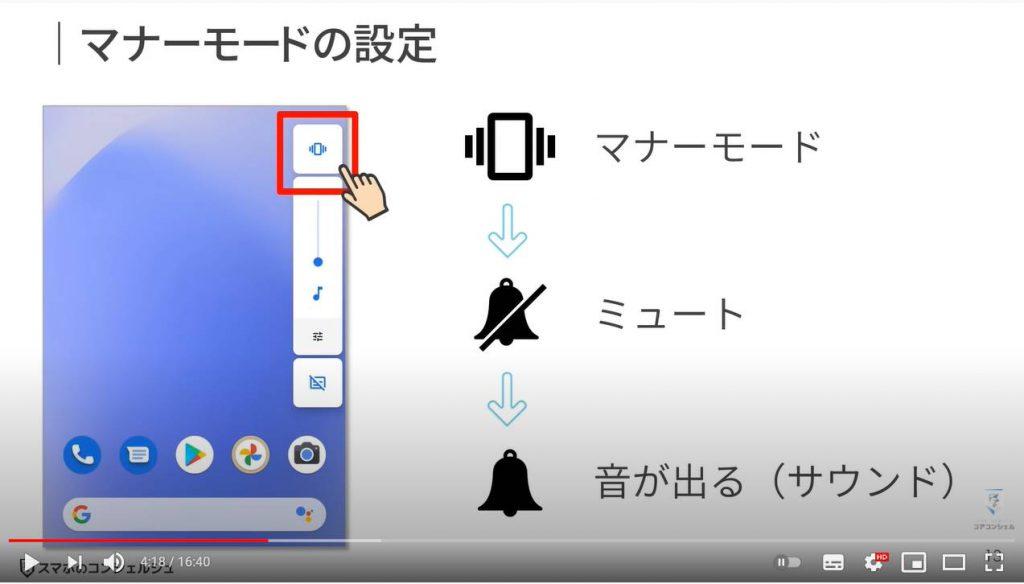 スマホのマナーや音に関する設定:マナーモードの設定方法