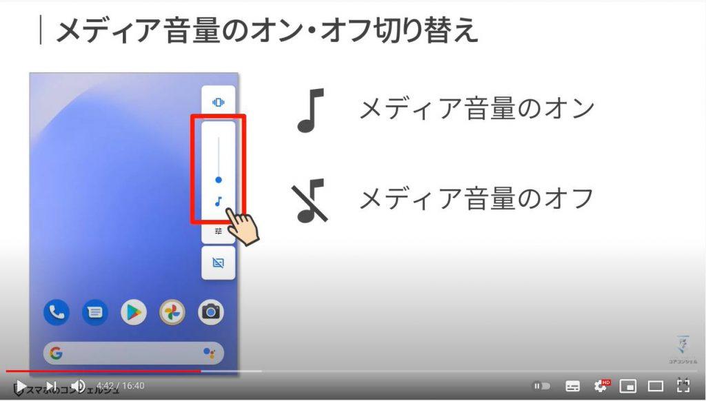 スマホのマナーや音に関する設定:メディア音量のオン・オフ